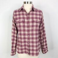 The North Face Womens Medium M Plaid Pearlized Snap Button Front Shirt Pink Top