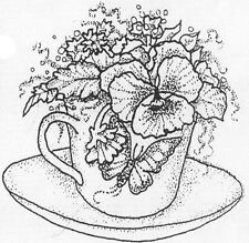Unmounted Rubber Stamps, Flowers, Floral, Pansy, Tea Cups, Coffee, Flower Stamps