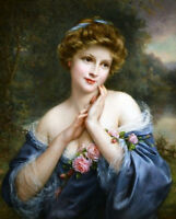 Oil painting Francois Martin-Kavel - A summer rose young beauty with flowers art