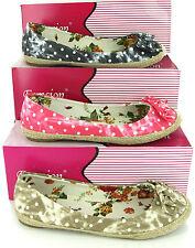Ballerina Slip On Canvas Pumps Womens Flower Espadrilles Fashion Shoes UK3-8