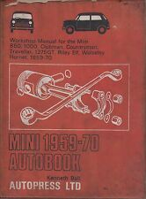 MINI 850 1000 RILEY ELF WOLSELEY HORNET CLUBMAN & 1275GT 1959-1970 REPAIR MANUAL