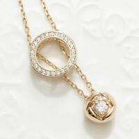 """14k Rose Gold Plated Rose Diamond Halo Pendant Chain Necklace 18"""" Women Gift"""