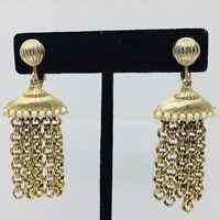 Vintage Boho Tassel Clip Earrings White Beads Brushed Gold Tone Chain Dangle