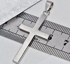 Solido Argento Sterling (925) Croce pendente a tinta unita