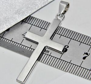 Solid Sterling Silver (925) LARGE Plain Cross Pendant