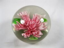 Blown Glass Paperweight Flowers Pink Vintage