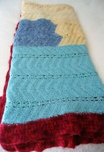 "Hand Knit Mohair Afghan Large 95"" x 114""  Multicolor Retro Boho"