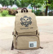 New Anime One Piece Backpack School Bag Trafalgar Law Canvas Cosplay Bag