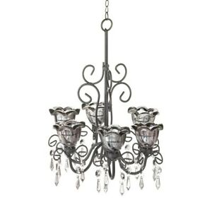 HOME LIGHTING DECOR MIDNIGHT BLOOMS 6 CANDLE CHANDELIER