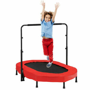 Foldable Rebounder 2-Person Trampoline with Adjustable Handle for Two Kids Red