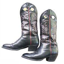 VTG Tony Lama 6361 Black Bullhide Leather Western Cowboy Boots Mens Size 9.5 D