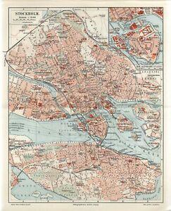 1895 SWEDEN STOCKHOLM CITY PLAN Antique Map