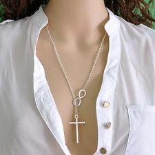 New Women's Ladies Jewelry Infinity Cross Pendant Chain Necklace Wedding Events