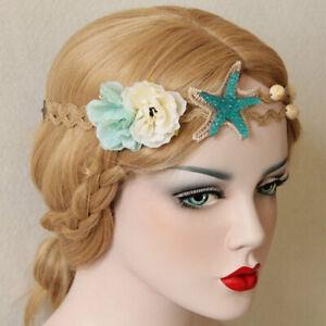 Mermaid Starfish Accessories Headband Flower Elastic Hair Beach Shell Hairband
