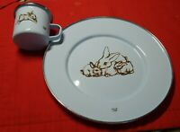 """ENAMELWARE BLUE METAL BUNNY RABBIT DESIGN ♡ BABY 8.5"""" PLATE AND TIN CUP"""
