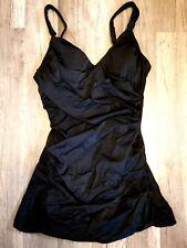 Spanx 2731 DRAPED SWIM DRESS SWIMSUIT ONE-PIECE BLACK sz 12 NWT
