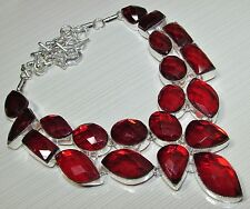 NATURAL FACETED  RED RAINBOW TOPAZ 925 SILVER NECKLACE