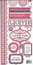 CRAZY FOR YOU Embossed Scrapbook Stickers and Border