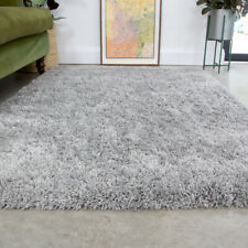 Silver Gray Shaggy Rug 4.5cm Thick Anti Shed Plain Living Room Shaggy Area Rugs