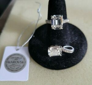 Platinum Over 925 Sterling Silver Solitaire Octagon Ring (Size 6) & Pendant