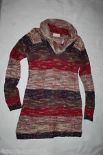 Womens LONG KNIT SWEATER Tunic BURGUNDY BLUE BEIGE STRIPE Cowl Neck 2X 18W-20W