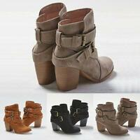 Women Snow Botas Winter Martin Warm Heels Boot Shoes Mid Heel Short Ankle Boots