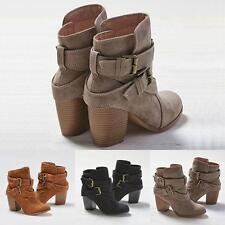 Women Snow Botas Winter Martin Warm Heels Boot Shoes Mid Heel Short Ankle Boots