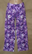 Victoria's Secret 100% Cotton Easy Care Purple Floral Print Sleep Pants—Size S