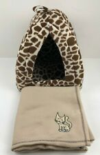 Igloo Cat Bed Pet Removable Cushion Padded Tiger Print with Blanket
