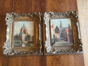 2 Framed Oil on Wood Board Paintings by George Jan Dispo