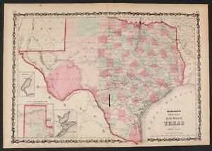 """Johnson's 1863 Atlas New Map Of The State Of Texas Hand Colored 18"""" X 27"""""""
