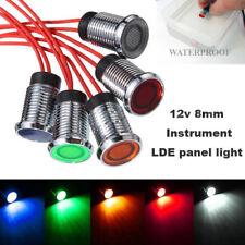 8mm LED Car Dash Panel Pilot Indicator Instrument Light Signal Lamp Auto Vehicle