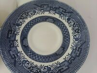 "Vintage Churchill England Blue Willow 6"" Tea Saucer Set of 4 Made England"