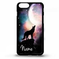 Wolf howling at the full moon wolves graphic personalised name phone case cover