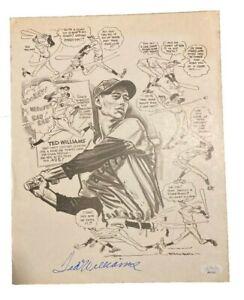 Ted Williams Signed Autographed Cartoon COA JSA Full Letter