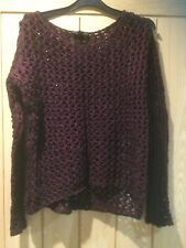 Topshop Long Sleeved Burgundy Open Knit Jumper - Size 8