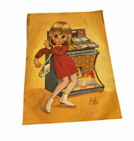 VINTAGE BIG EYE Lithograph Go-Go Dancer Girl Jukebox 10 x 13.5 Print By EVE