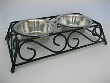 Pet Cat Small Dog 2 Dishes black wrought iron scroll feeder stand removable New
