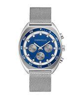 Caravelle Men's Quartz Chronograph Dual-Band Silver-Tone 40mm Watch 43K100