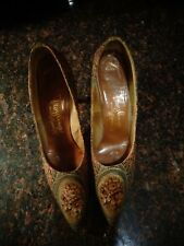 EC Vintage Troylings Styled by Seymour Troy ~ Floral Metallic Tapestry ~ Size 9