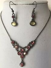 "Park Lane ""CAPRI"" Necklace Genuine Pink Swarovski Crystals & Ashley Earrings"