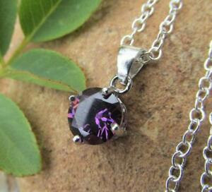 2 CT Round Cut Purple Amethyst Solitaire Pendant Necklace 14K White Gold Finish