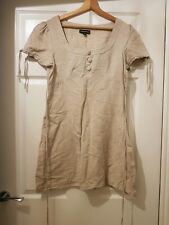 WAREHOUSE BEIGE/GOLD LINEN DRESS SIZE 14