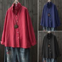 Women's Buttons Down Lapel Shirt Tops Casual Ethnic Cotton Oversize Blouse Plus
