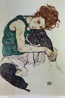 Egon Schiele Sitzende Frau Poster Kunstdruck Bild 84x55cm
