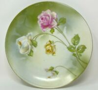 "VINTAGE R S GERMANY SMALL ROSE PLATE 6"" GOLD TRIM"