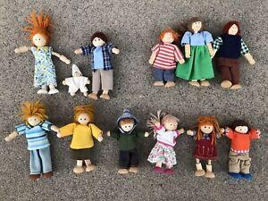 12 Wood Wooden Dollhouse Dolls Family Baby Yarn Hair~3 Battat, 9 Plan Toys