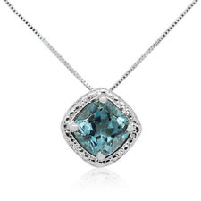 2.65 Ct Cushion Shape Blue Topaz And Diamond Pendant In Sterling Silver