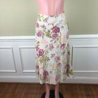Pendleton Womens Skirt A-Line Silk Linen Floral Lined Career Work Size 6 NEW