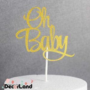 Oh Baby Baby Shower Glitter Gold Cake Topper